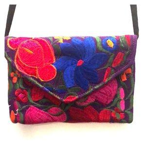 Hippie vintage floral embroidery purse bag boho